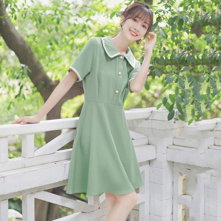 洋裝 夏季抹茶綠洋裝女學生小眾花邊翻領chic桔梗裙子-莎韓依