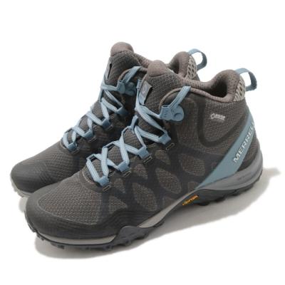 Merrell 戶外鞋 Siren 3 Mid GTX 女鞋 登山 越野 耐磨 黃金大底 防水 中筒 灰 藍 ML84684
