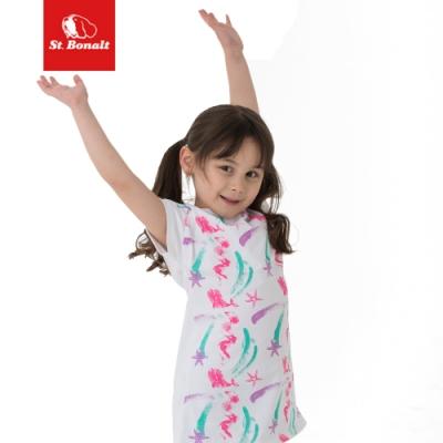 【St.Bonalt 聖伯納】女童 休閒連身裙 圓領 多彩 吸濕 排汗 透氣 白色-9059