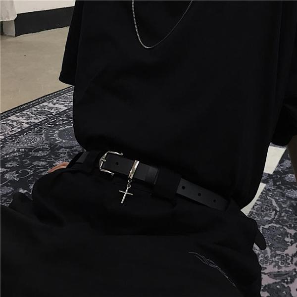 韓版ins原宿風復古個性黑色皮帶百搭褲帶簡約學生腰帶裝飾男女潮