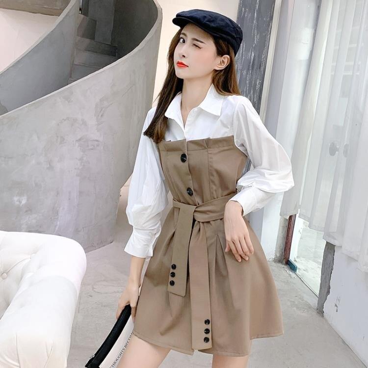 襯衫裙 秋季正韓氣質長袖收腰顯瘦設計感小個子襯衫洋裝女裝-莎韓依