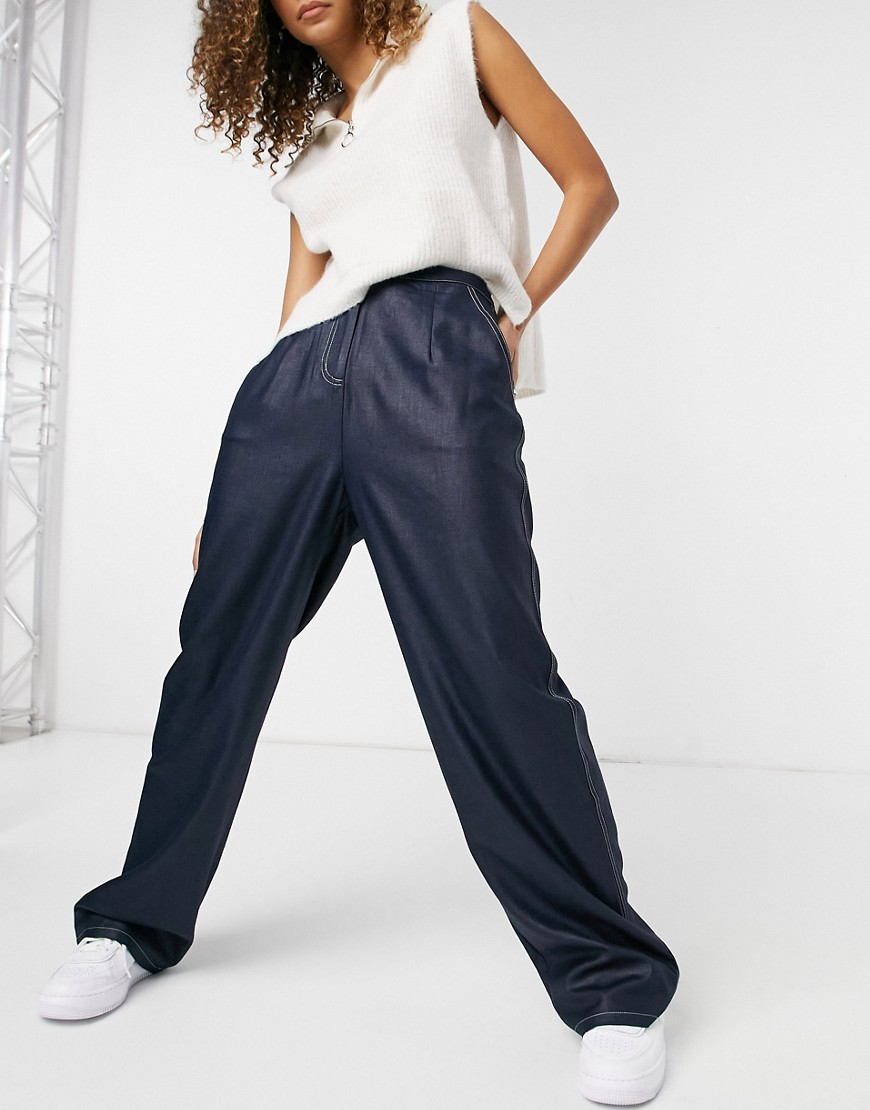 87 origins wide leg trousers with double stitch detail in navy