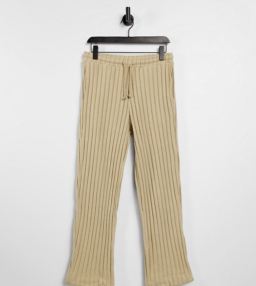 COLLUSION Unisex wide leg joggers in jersey knit in tan co-ord-Brown