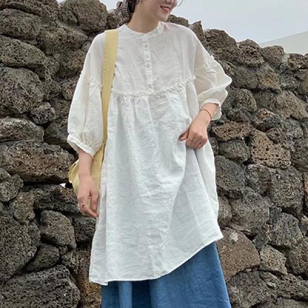 純棉連身裙 立領半系扣長裙 八分袖寬鬆休閒裙-夢想家-0308