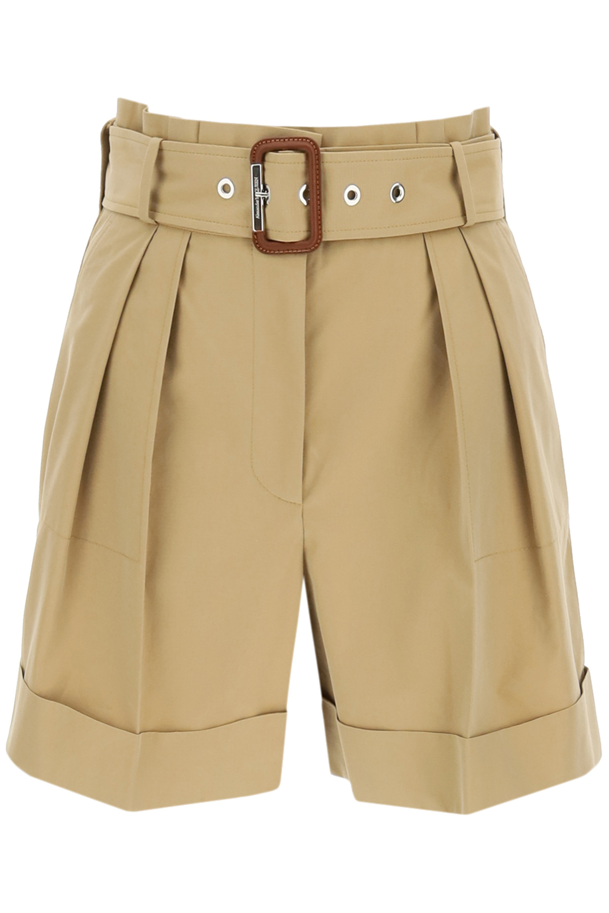 ALEXANDER MCQUEEN BELTED COTTON SHORTS 42 Beige Cotton