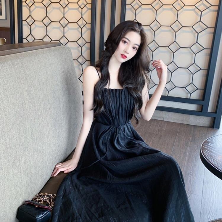 法式小眾黑色洋裝女夏季小個子氣質裙子收腰顯瘦吊帶裙-莎韓依