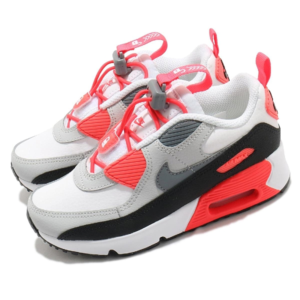 Nike 童鞋 Air Max 90 Toggle PS 白 灰 紅 原版配色 小朋友 中童鞋【ACS】 CV0064-100