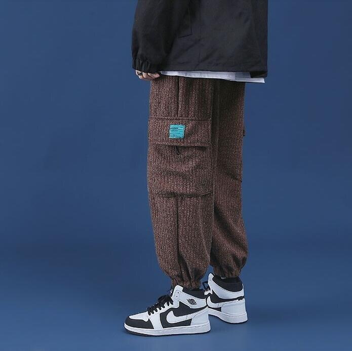 男士運動褲加絨加厚冬季工裝褲潮牌束腳ins港風衛褲寬鬆潮流褲子--品質保證 免運