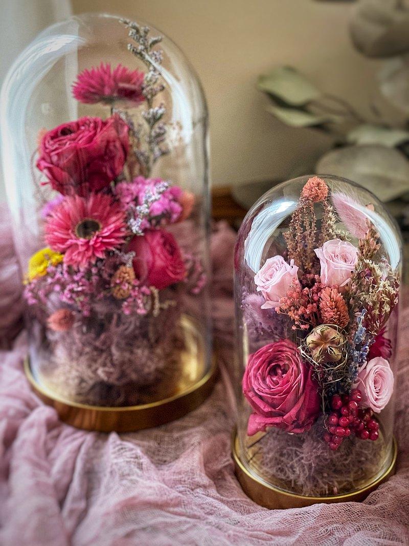 一對玫瑰花玻璃罩 永生花 乾燥花 禮物 不凋花
