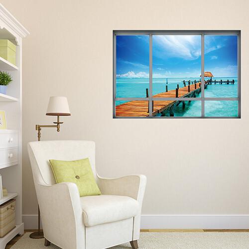 墨西哥小島貼 3d立體壁貼 貼紙 辦公室 客廳 臥室貼 假窗戶風景 沂軒精品 e0046