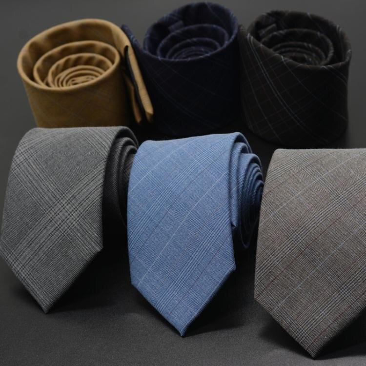 男士時尚休閑英倫灰色格子領帶8cm商務正裝手打韓版領帶潮禮盒裝 果果輕時尚