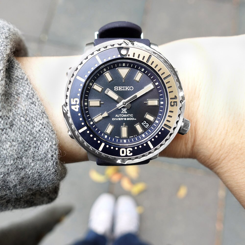 SEIKO 精工 / 4R35-04L0B / PROSPEX 鮪魚罐頭 潛水錶 機械錶 日期 矽膠手錶 藏青色 43mm