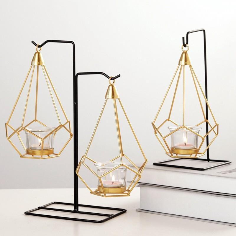 復古鐵藝燭臺擺件 西餐蠟燭臺 家用歐式 燭光晚餐浪漫餐桌裝飾小擺設1愛尚優品