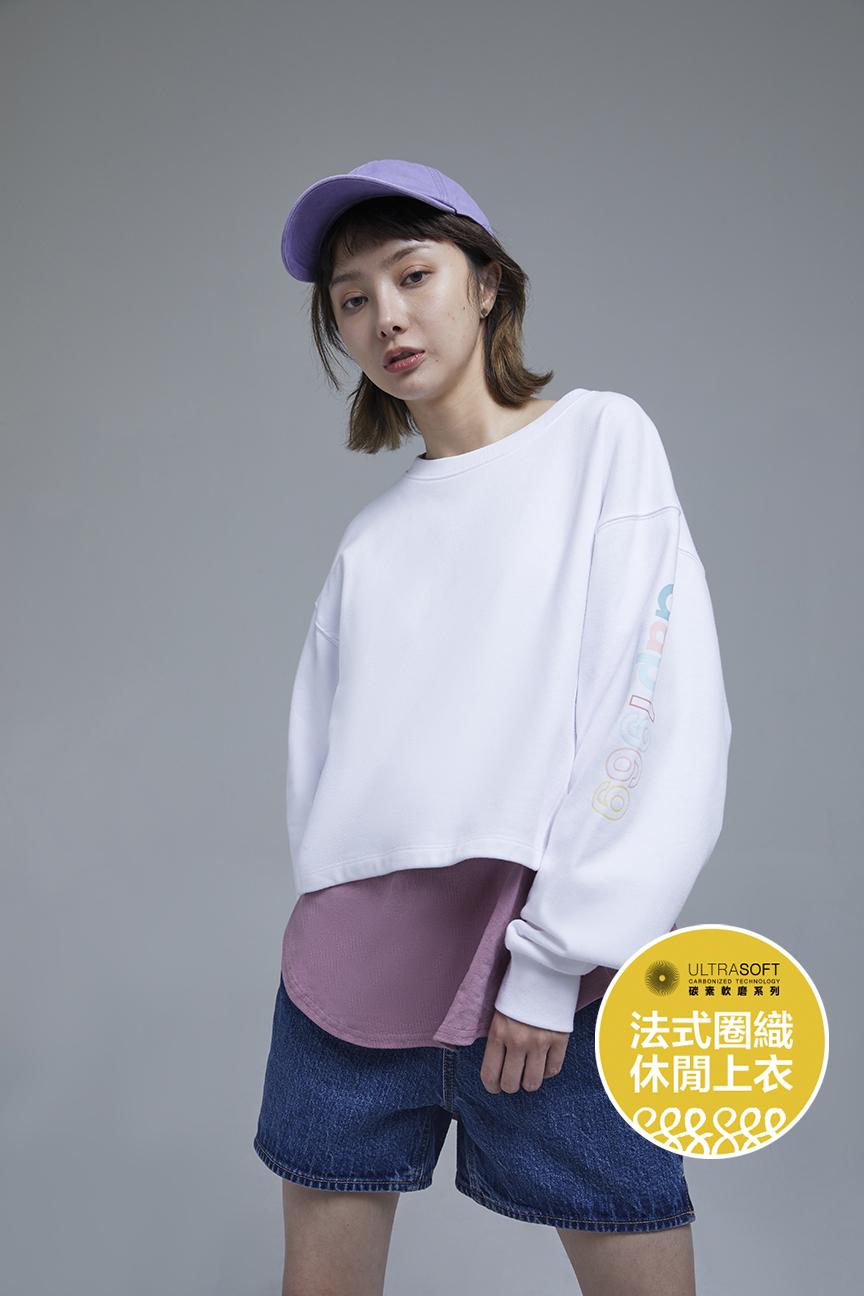 女裝 碳素軟磨系列法式圈織 Logo休閒上衣