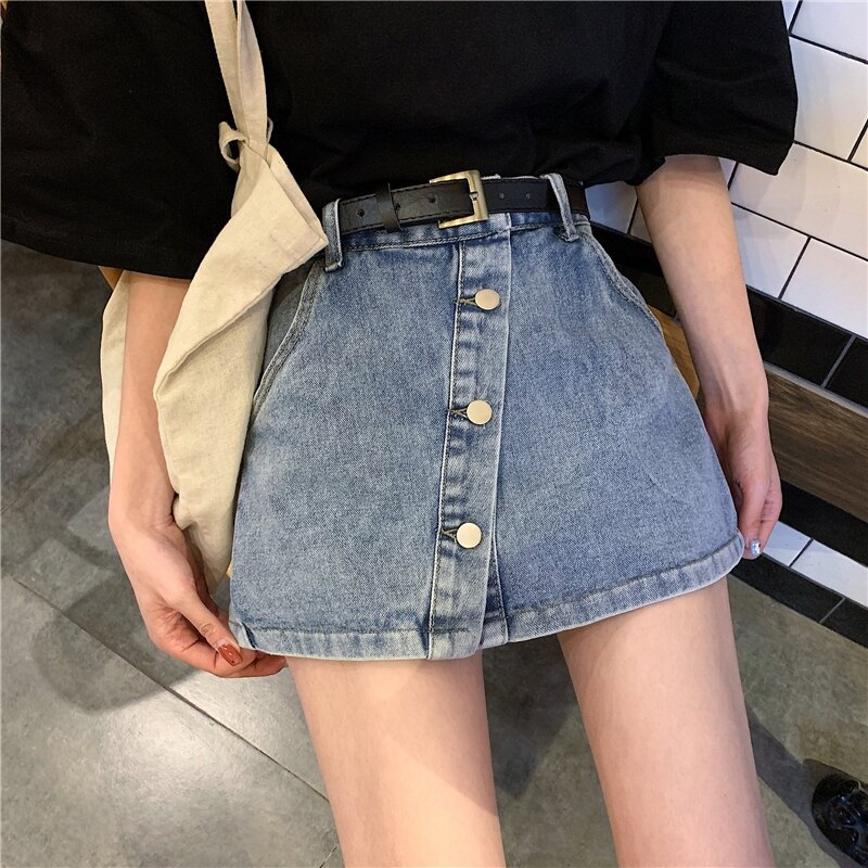 半身裙女chic韓版高腰大碼寬鬆顯瘦防走光裙子A字闊腿牛仔短褲裙 果果輕時尚