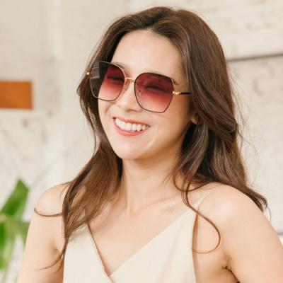 ALEGANT韓潮街拍時尚太妃糖色金框幾何造型墨鏡│UV400太陽眼鏡│皇后的魔鏡夢遊