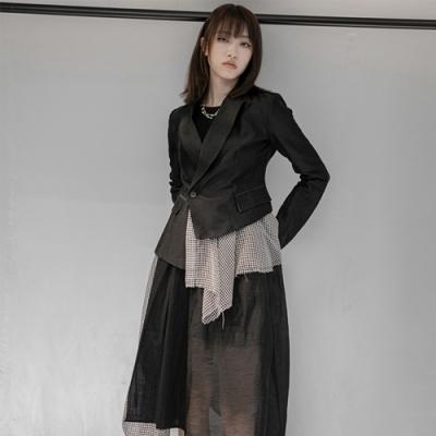 設計所在Style-新暗黑YS韓版顯瘦麻料修身小西裝便裝