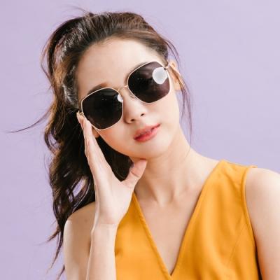 ALEGANT時尚復古鏤空金框茶黑偏光墨鏡│UV400太陽眼鏡│太空墨印