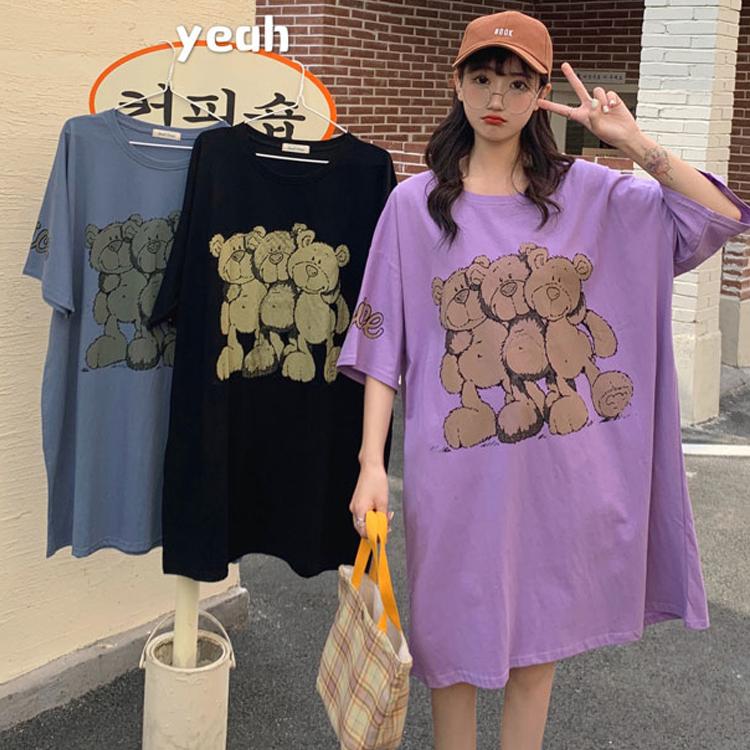 M-4XL大尺碼衣著 大碼夏季胖mm顯瘦遮肚子印花中長裙短袖韓版T恤連衣裙