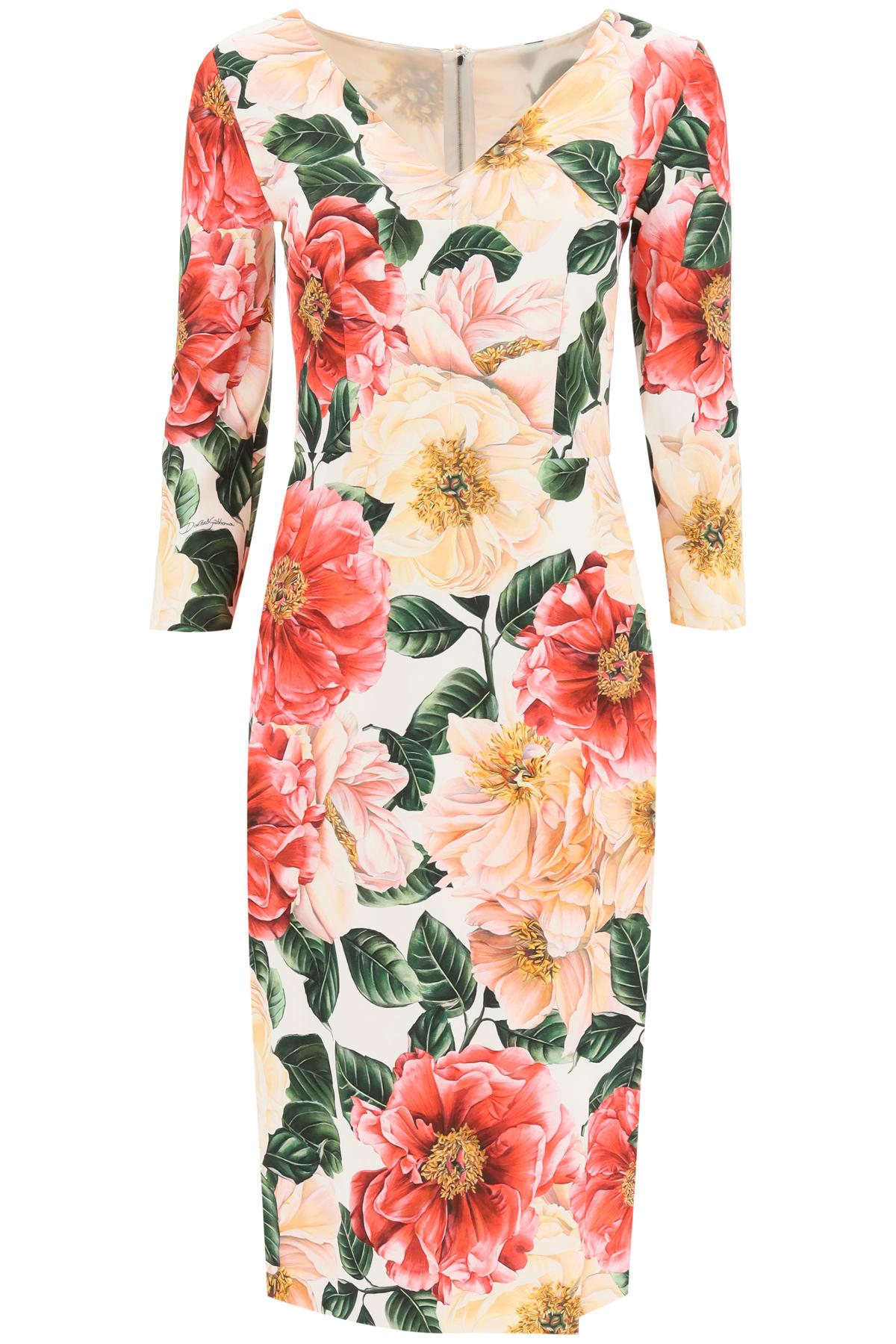 DOLCE & GABBANA CAMELLIA PRINT CADY DRESS 42 Fuchsia, Beige, Pink