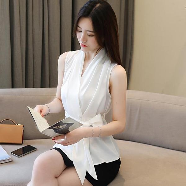 2021春夏裝無袖氣質露肩雪紡衫百搭OL職業白色襯衫女V領顯瘦襯衣 喵小姐