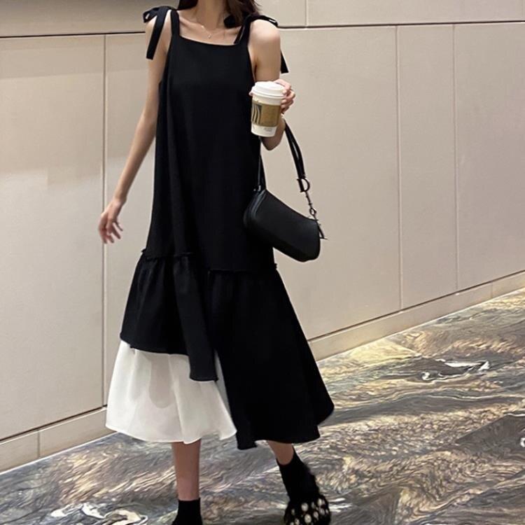 春装2021年新款大码女装胖mm法式背带洋裝子赫本两件套装早春款 果果輕時尚
