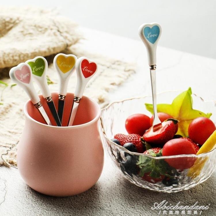 北歐風ins不銹鋼水果叉創意可愛家用水果簽歐式小奢華小叉子套裝 林之舍家居