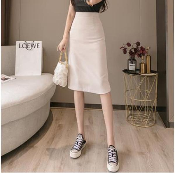 直筒西裝半身裙女春裝2021年新款女高腰后開叉一步包臀裙a字中裙 3C數位百貨