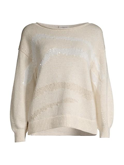 Blouson Sleeve Intarsia Sweater