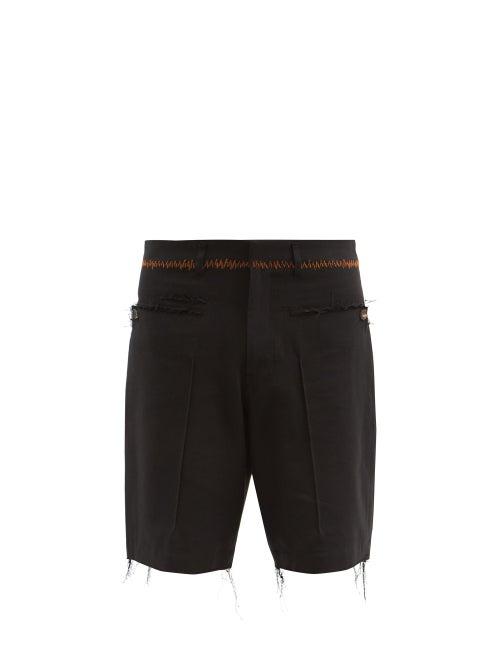 Bed J.w. Ford - Raw-edge Cotton-blend Twill Shorts - Mens - Black