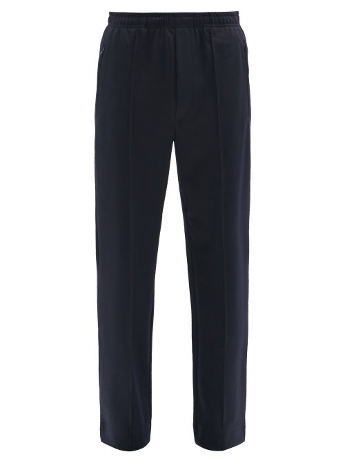 Sunflower - Pintuck-pleated Jersey Straight-leg Track Pants - Mens - Navy