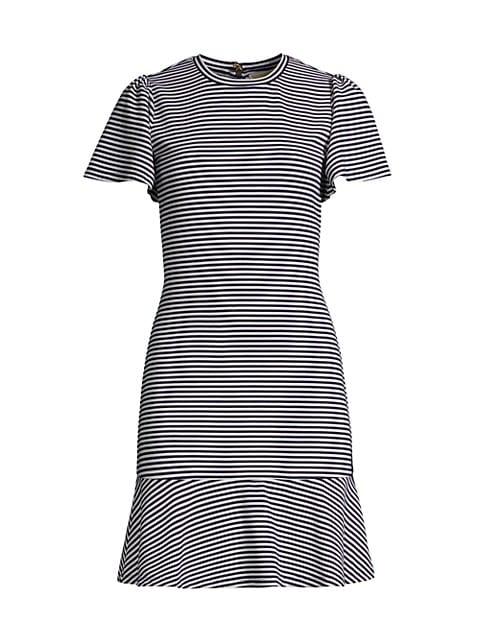 Stripe Flutter-Sleeve Flounce T-Shirt Dress