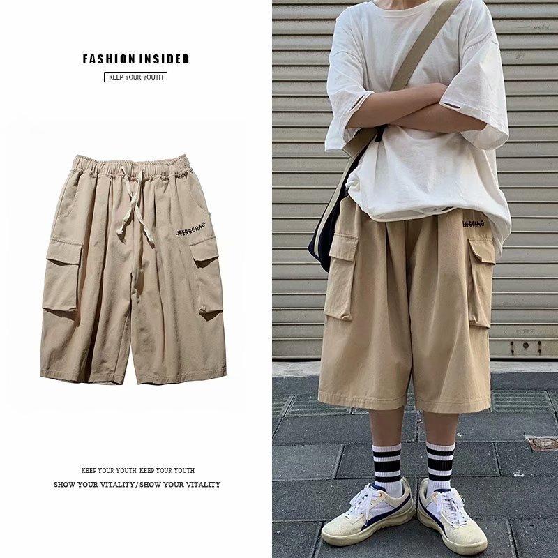 FOFU-短褲男機能風oversize闊腿寬鬆滑板嘻哈七分褲休閒工作風滑板褲【08SB00302】