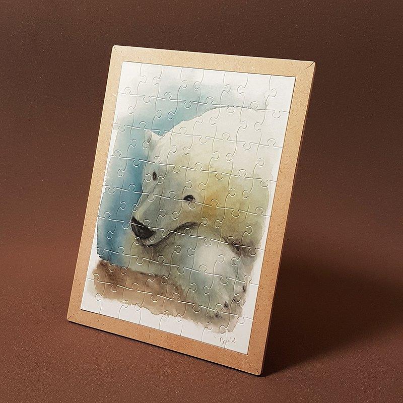 拼圖-北極熊水彩插畫系列