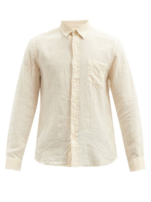 120% Lino - Pinstriped Crinkled Linen-calico Shirt - Mens - Beige
