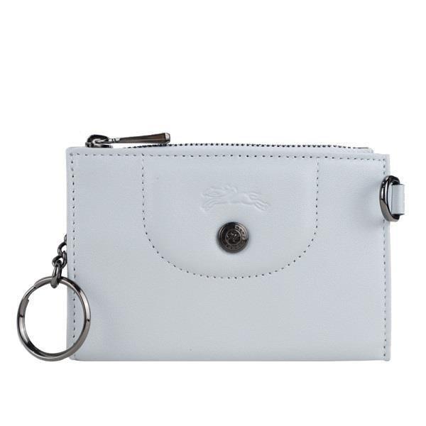LONGCHAMP LE PLIAGE CUIR系列小羊皮鑰匙零錢包(天澄)