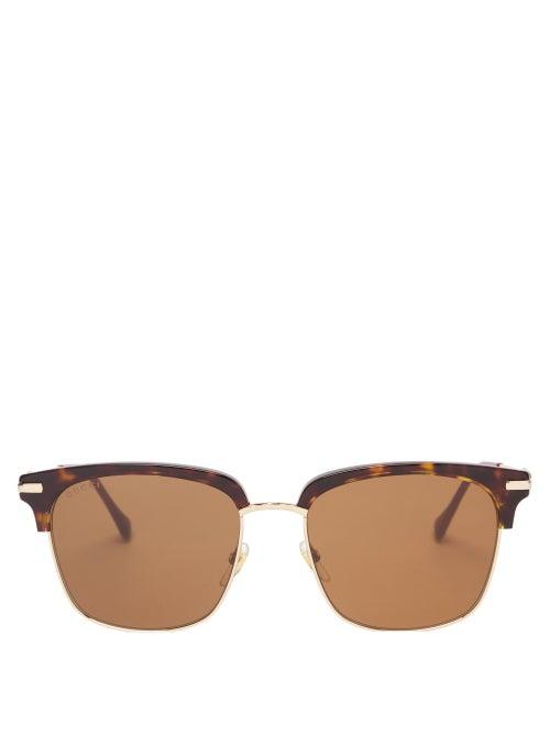Gucci - Horsebit Square Acetate And Metal Sunglasses - Mens - Brown Gold