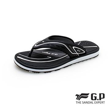 【G.P 高彈性舒適夾腳拖鞋】G1531M-10 黑色 (SIZE:40-44 共三色)
