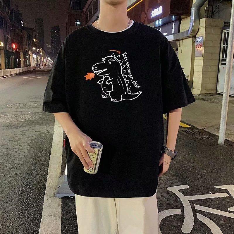 FOFU-短袖t恤男假兩件潮流寬鬆港風卡通設計感衣服學院風【08SB00294】