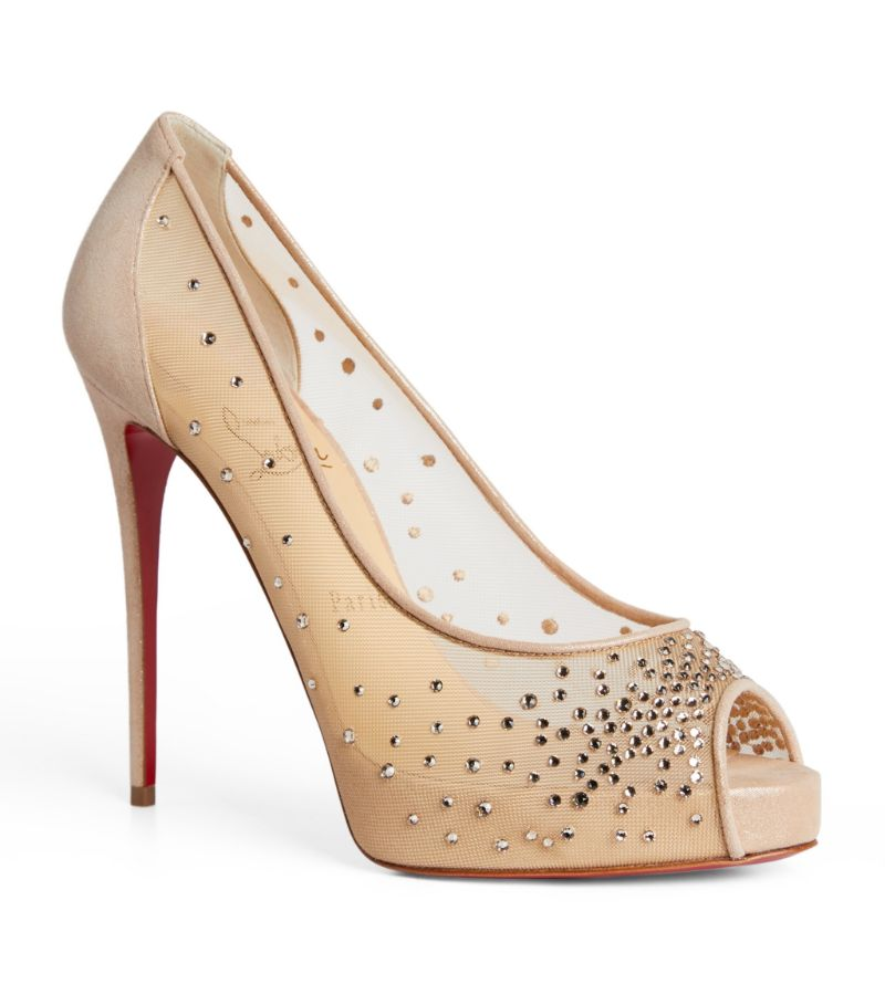Christian Louboutin Very Strass Embellished Open-Toe Pumps 120