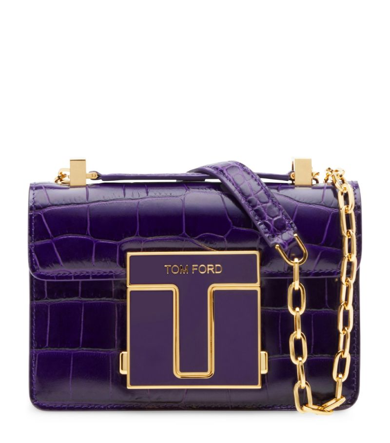 Tom Ford Small Croc-Embossed 001 Chain Shoulder Bag