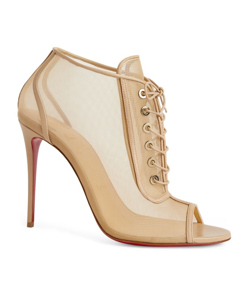 Christian Louboutin Ondessa Leather-Mesh Open Boots 100