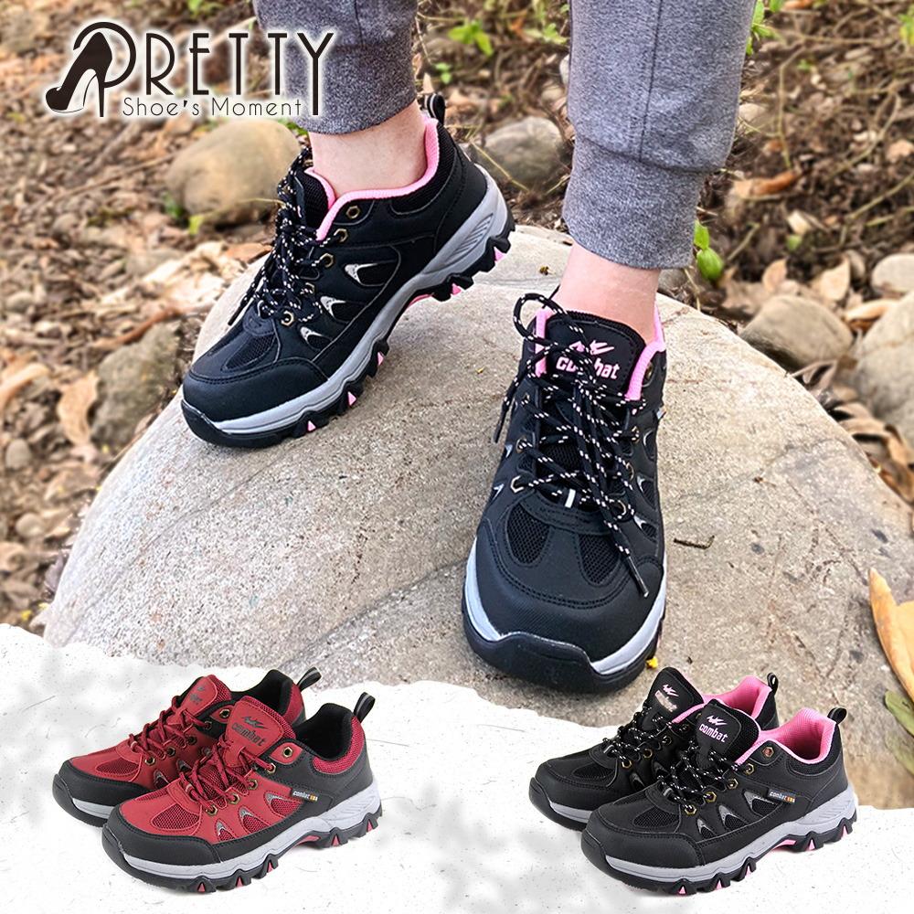 【Pretty】防潑水透氣網布反光拼接綁帶運動休閒鞋/登山鞋N-20599