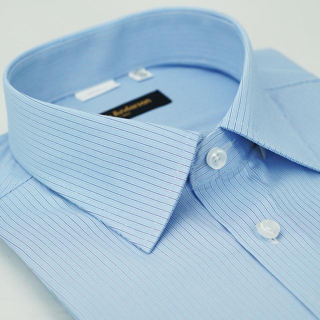 【金安德森】藍色條紋窄版襯衫-短袖