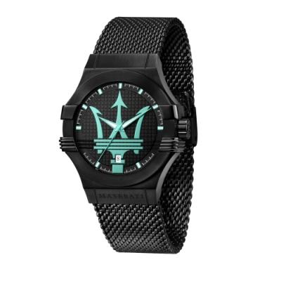 MASERATI 瑪莎拉蒂 AQUA SFIDA 海洋水色黑鋼質感腕錶44mm(R8853144002)