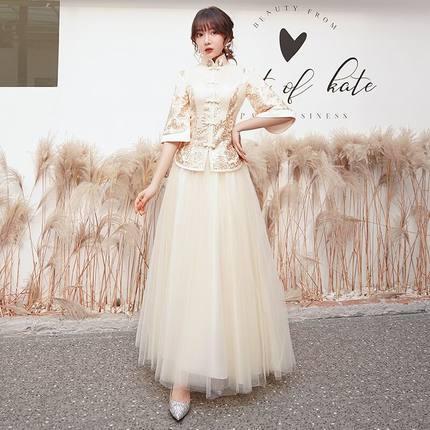 伴娘服 出租賃中式伴娘服新款長款結婚中國風秀禾新娘伴娘團香檳禮服b637