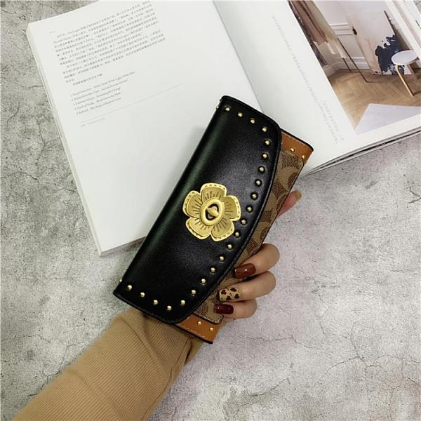 欧美个性女士长款钱包女短款潮港风复古铆钉折叠小钱夹多卡位手包