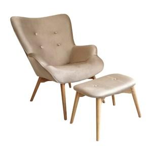 【JUSTBUY】瓦薩貓抓布單人休閒椅凳組-DS0001-PET奶油歐蕾色