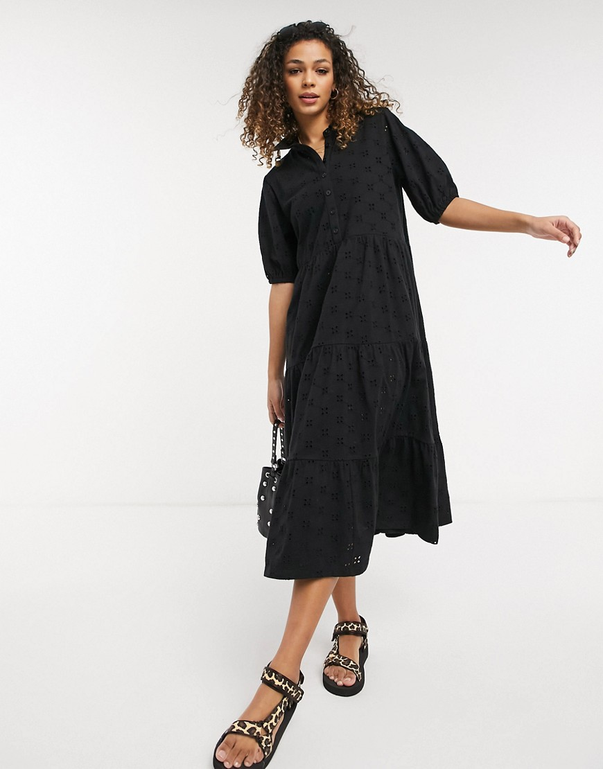 ASOS DESIGN broderie midi tiered shirt dress with short sleeves in black