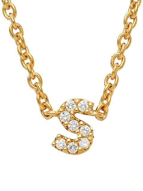 Nadri Fine Initials S Pendant 14K Yellow Gold & Diamond Necklace